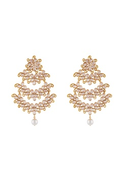 Shilpa Purii Gold & white alloy uncut chandelier earring