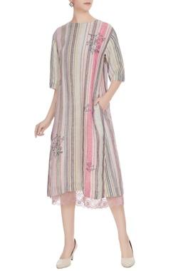 EKA Multi-colored linen handwoven striped midi dress