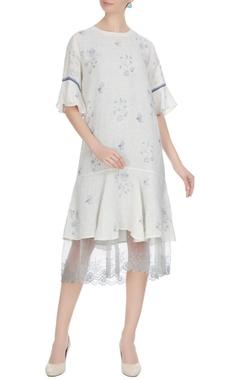 EKA White linen floral hand block printed midi dress