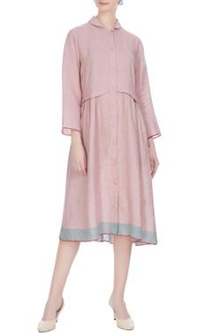 EKA Pink linen solid midi dress