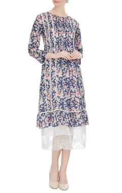 EKA Navy blue cotton floral hand block printed midi dress