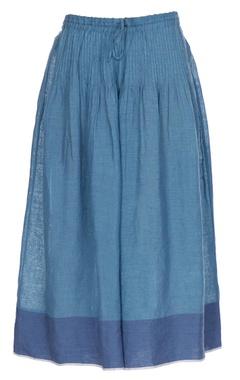 Blue linen pintuck flared culottes