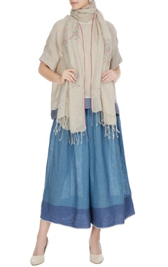 Natural linen floral hand block printed stole