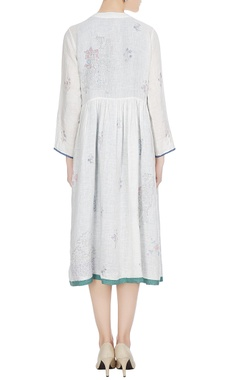 White linen hand block printed midi dress