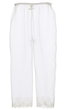 White organza embroidered trousers