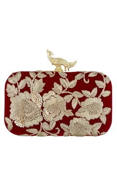 Wine silk hand embroidered sling clutch