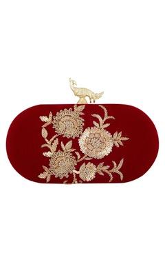 Wine velvet hand embroidered sling clutch