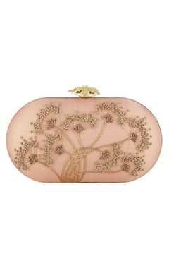 Blush pink silk hand embroidered sling clutch
