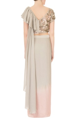Green & pink crepe georgette embellished pre-draped saree with ruffled blouse