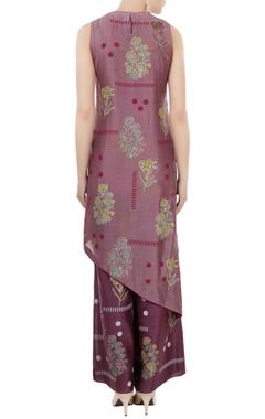 Amethyst purple chanderi block printed tunic with pants & inner