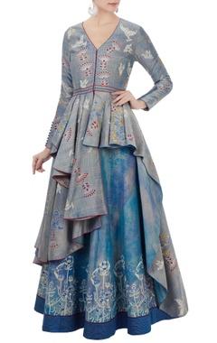 Blue chanderi hand-block printed asymmetric jacket with lehenga