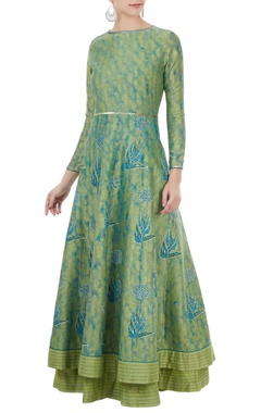 Poonam Dubey Blue & green sequin hand embroidered anarkali set