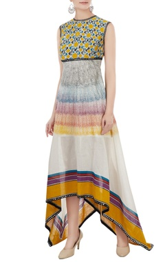 Poonam Dubey Multicolored sleeveless chanderi block printed dress