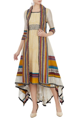 Poonam Dubey Multicolored hand block printed jacket with tunic