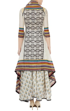 Multicolored hand block printed jacket with tunic