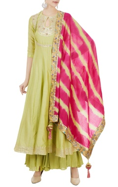 Green chanderi gota embroidered kurta & leheriya dupatta set