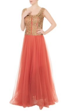 Aharin Peach net zari embroidered gown