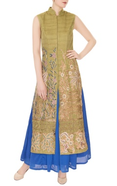 Aharin Olive silk dori, thread & bead embroidered jacket with blue satin skirt