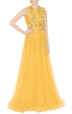 Aharin Yellow net zardozi & zari embroidered gown