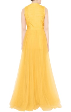 Yellow net zardozi & zari embroidered gown