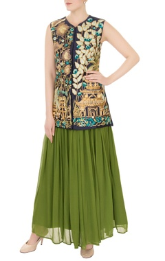 Aharin Navy blue silk dori embroidery jacket with green georgette skirt