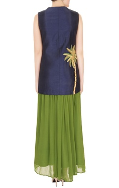 Navy blue silk dori embroidery jacket with green georgette skirt