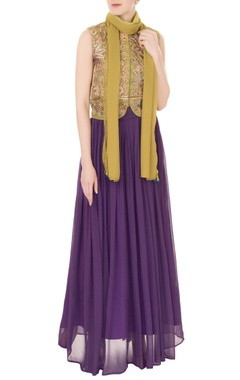 Aharin Olive silk zardozi & zari embroidered jacket with purple georgette skirt & dupatta