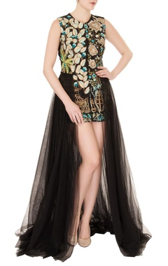 Aharin Black silk & net thread embroidered gown