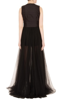Black silk & net thread embroidered gown