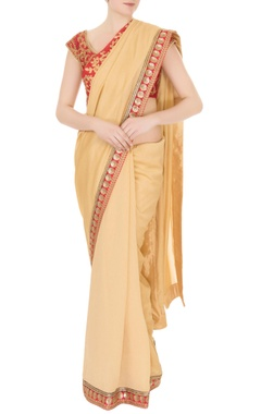 Aharin Gold silk & crepe zari & pearl work saree with red blouse