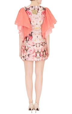Pink satin sequin embroidered ruffled short dress