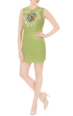 Aharin Green cotton blend thread & zardozi embroidered short dress