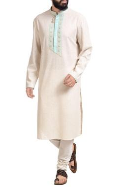 Off-white matka silk embroidered kurta with churidar