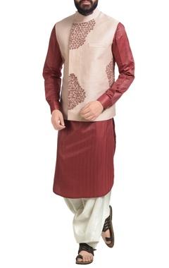 Pastel pink dupion silk floral embroidered nehru jacket set