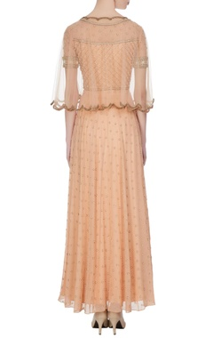 Beige georgette & net, pearl & bead work gown with cape