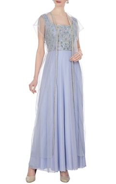 Powder blue georgette & net, pearl & bead work gown with cape
