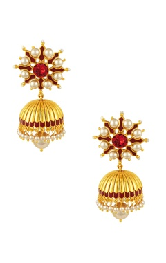 Gold plated maroon swarovski Tarun Tahiliani jhumka earrings