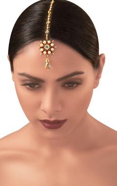 Gold plated  Tarun Tahiliani swarovski & pearl floral maangtikka