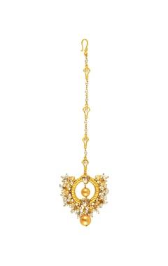 Gold plated Tarun Tahiliani swarovski & pearl heritage maangtikka