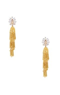 Gold plated swarovski crystal & tassel earrings