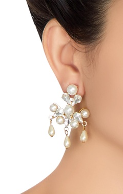 Gold plated swarovski crystal earrings with pearl drops