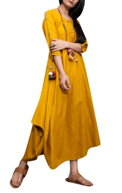 Mustard cotton cowl style dress with necklace