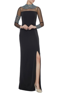 Neeta Lulla Black stretch fabric silver patti gown with side slit