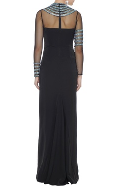 Black stretch fabric silver patti gown with side slit