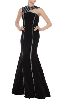 Black stretch fabric silver patti sheath gown