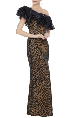 Neeta Lulla Black stretch fabric frilled sequin one-shoulder gown