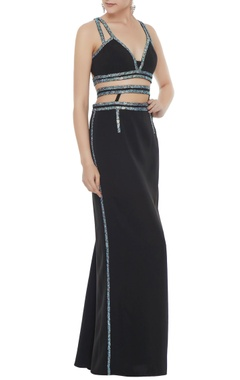 Black stretch fabric silver patti a-line skirt with bustier