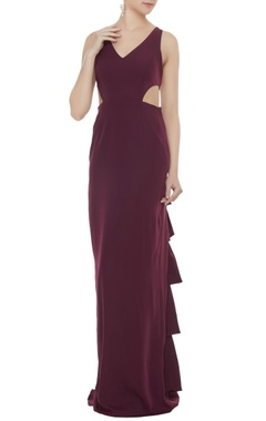 Neeta Lulla Wine stretch fabric frilled & cut-out sheath gown