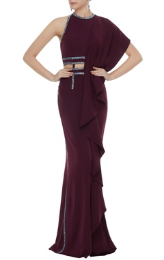 Neeta Lulla Wine stretch fabric stone patti gown with draped panel