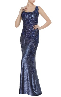 Neeta Lulla Navy blue sequin fabric applique work sheath gown